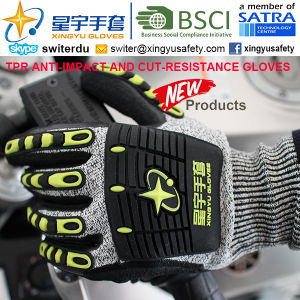 Cut-Resistance and Anti-Impact TPR Gloves, 13G Hppe Shell Cut-Level 3, Sandy Nitrile Palm Coated, Anti-Impact TPR on Back Mechanic Gloves pictures & photos