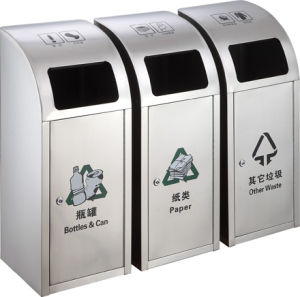 Outdoor Stainless Steel Dustbin with Three Holes (HW-153) pictures & photos