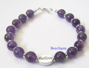 Natural Amethyst Beads Bracelet with Silver Charm (BRG0058)