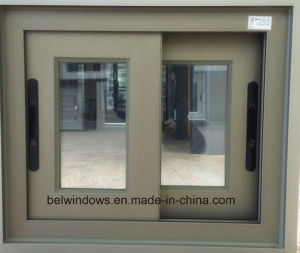 Champagne Color Aluminum Sliding Window with Anti Burglary Grill