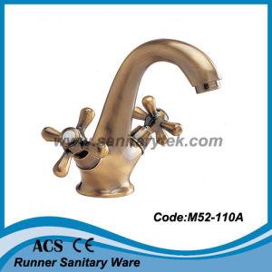 Double Handle Bronzed Basin Faucet (M52-110A) pictures & photos