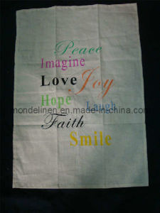 Linen Tea Towel with Customer′s Printing (TT-009)