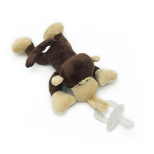 Plush Stuffed Monkey Pacifiers Baby Toys with Silicone Binky Teething Soother