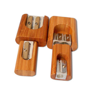Mini Pencil Sharpener with Bamboo Material for School pictures & photos