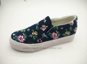 Women′s Casual Canvas Shoes with Floral Prints (ET-LD160103W)