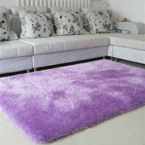 Plain Coloured Fluffy Silk Carpet (violet) pictures & photos