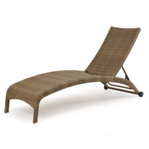 Well Furnir Outdoor Wicker Armless Chaise Lounge Tortoise Shell pictures & photos