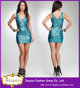 2014 Charming Turquoise Sheath V Neck Sequins Taffeta Western Style Cheap Short Cocktail Dress pictures & photos