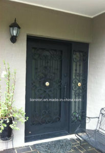 Custom Security Wrought Iron Door with Sidelights pictures & photos