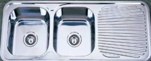 Australian Standard Double Bowl Kitchen Sink with Drainboard (KID11848) pictures & photos