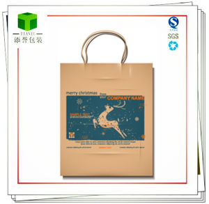 Customized Handle Square Bottom Kraft Paper Bag pictures & photos