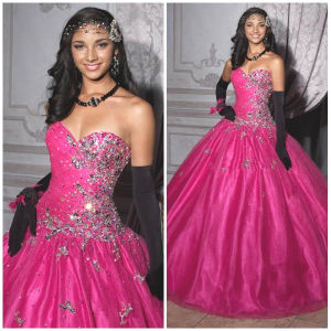 2012 New Sexy Sweetheart A-Line Sheath Jacket Paillette Beaded Ruffle Tulle Satin Quinceanera Dresses (QD-028)