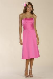 Pink Satin Bridesmaid Dress and Bridemaid Gown (TEALF005)