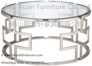 Modern Silver With Clear Glass Geometric Stainless Steel Round Coffee Table