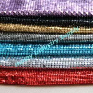 Sparkling Decorative Flat Shape Aluminum Flakes Linked Metallic Sequin Fabric
