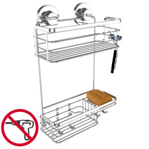 High-Quality Rustproof Stainless Steel Shower Caddy with Suction Cup