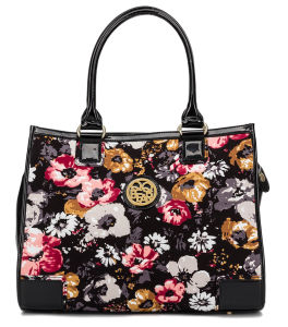 Printed Flower Ladies Classical Fabric Tote Bag/ Handbag (QF-15097-B) pictures & photos
