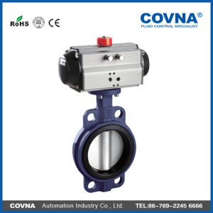 NBR Sealing Pneumatic Butterfly Valve for Fluid Treatment pictures & photos