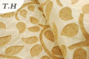 2017 Generous Jacquard Sofa and Furniture Fabric with Light Yellow Leaves pictures & photos