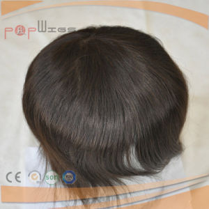 Short Human Hair Dyeable Full Poly Mens Toupee Hairpiece Wig pictures & photos