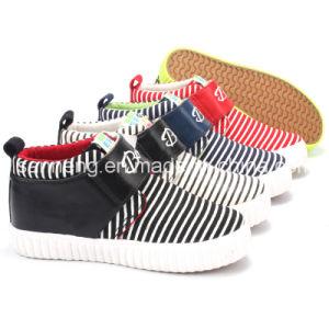 Zebra-Stripe Simple MID-Cut Kids Canvas Shoes (SNC-020540) pictures & photos