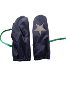 Solid Blue Star Fleece Lining PU Rain Mitten for Baby/Child pictures & photos