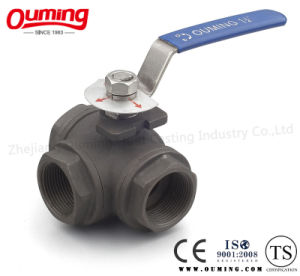 316L Three Way Threaded End Carbon Steel Ball Valve pictures & photos