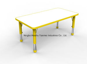 Yellow PP Material Long Square Table, Childrens Desk pictures & photos