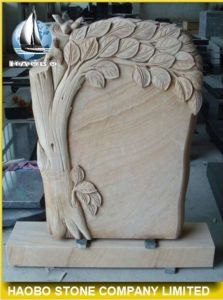 Yellow Sandstone Tree Headstone Factory Direct pictures & photos