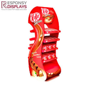 Promotional Design Floor Food Rack Metal Snack Display Stand with Poster pictures & photos