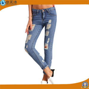 OEM Fashion Stretch Skinny Ripped Cotton Jeans Trousers for Women pictures & photos