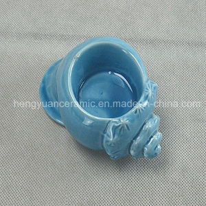 Ceramic Bule Conch Shape Candle Holder pictures & photos