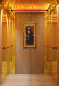Titanium Gold and Etched Mirror Passenger Elevator pictures & photos