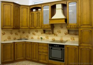 Kitchen Furniture Solid Wood Olive Color Kitchen Cabinet (O4) pictures & photos