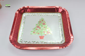 """Xmas 9"""" & 7"""" Square Disposable Paper Plate for Party"""