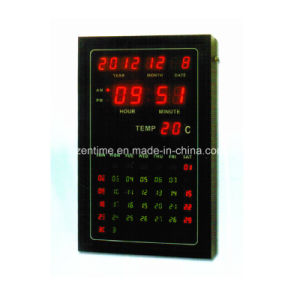 LED Digital Wall Clock with Full Calendar and Temperature Display pictures & photos