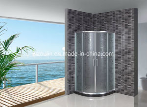 Acid Glass Shower Door with Black Water Bar (AS-904) pictures & photos