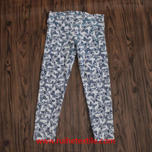 100% Cotton Water Print Girl′s Casual Trousers