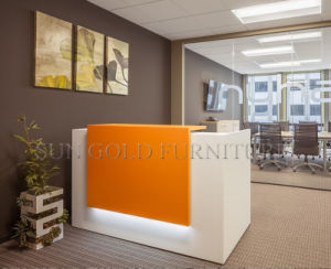 Popular Simple Design Orange Small Salon Reception Desk (SZ-RT055) pictures & photos