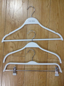 Plastic White Clothes Hanger, White Pants Hanger with Clips pictures & photos