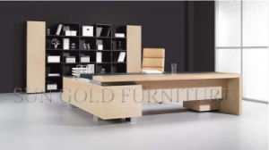 Elegant German Design Office Table with Hollow Side Cabinet (SZ-ODL332) pictures & photos