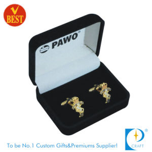 Factory Price High Quality Gold Plated Customized Logo Cuff Links with Velvet Box pictures & photos