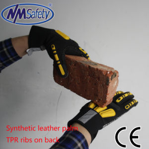 Nmsafety Synthetic Leather Sewing Mechanical Work Gloves pictures & photos