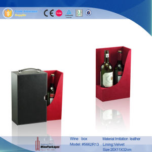 Novelty Factory Direct Leather Black Custom Wine Box (5662R2) pictures & photos