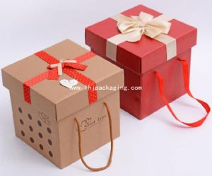 Custom Printing Gift Paper Box with Handle and Bowknot