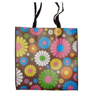 Long Handle PP Woven Shopping Bag with Sunflower Design