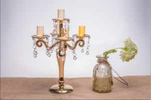 Golden Color Glass Candle Holder for Wedding Decoration with Five Poster pictures & photos
