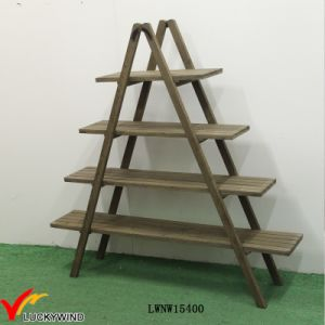 4 Tier Shelf Folding Wooden Ladder Display pictures & photos