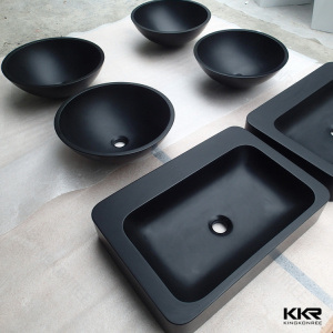 Artificial Stone Solid Surface Bathroom Above Counter Black Wash Basin pictures & photos