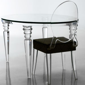 Modern House Design Round Glass Dining Table and Chair